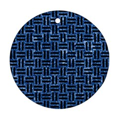 Woven1 Black Marble & Blue Marble (r) Round Ornament (two Sides) by trendistuff