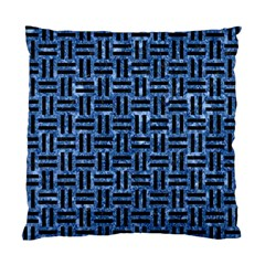 Woven1 Black Marble & Blue Marble (r) Standard Cushion Case (two Sides) by trendistuff