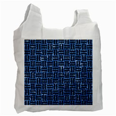Woven1 Black Marble & Blue Marble (r) Recycle Bag (one Side) by trendistuff