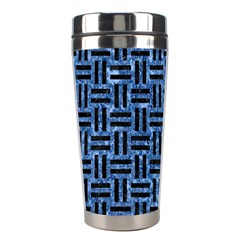 Woven1 Black Marble & Blue Marble (r) Stainless Steel Travel Tumbler by trendistuff