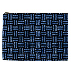 Woven1 Black Marble & Blue Marble Cosmetic Bag (xxl) by trendistuff