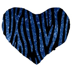 Skin4 Black Marble & Blue Marble (r) Large 19  Premium Flano Heart Shape Cushion by trendistuff
