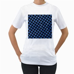 Houndstooth2 Black Marble & Blue Marble Women s T Shirt (white) (two Sided) by trendistuff