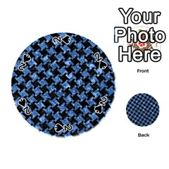 Houndstooth2 Black Marble & Blue Marble Playing Cards 54 (round) by trendistuff