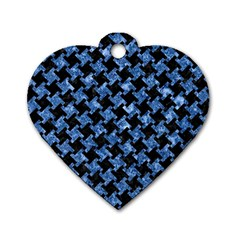 Houndstooth2 Black Marble & Blue Marble Dog Tag Heart (two Sides) by trendistuff