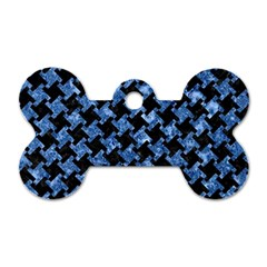 Houndstooth2 Black Marble & Blue Marble Dog Tag Bone (one Side) by trendistuff