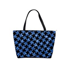 Houndstooth2 Black Marble & Blue Marble Classic Shoulder Handbag by trendistuff