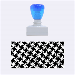 Houndstooth2 Black Marble & Blue Marble Rubber Stamp (medium)