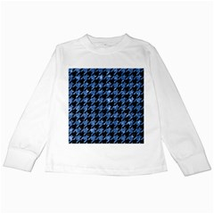 Houndstooth1 Black Marble & Blue Marble Kids Long Sleeve T Shirt by trendistuff