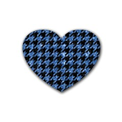 Houndstooth1 Black Marble & Blue Marble Rubber Heart Coaster (4 Pack) by trendistuff