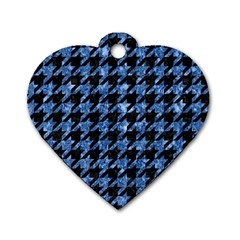 Houndstooth1 Black Marble & Blue Marble Dog Tag Heart (one Side) by trendistuff