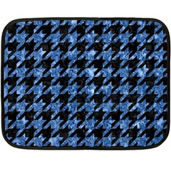 Houndstooth1 Black Marble & Blue Marble Double Sided Fleece Blanket (mini) by trendistuff