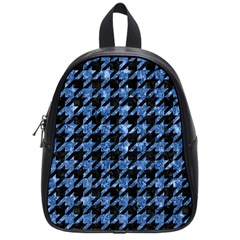 Houndstooth1 Black Marble & Blue Marble School Bag (small) by trendistuff