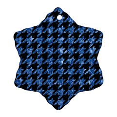 Houndstooth1 Black Marble & Blue Marble Snowflake Ornament (two Sides) by trendistuff