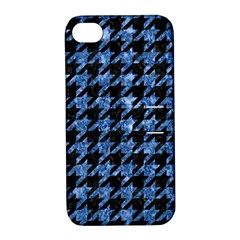 Houndstooth1 Black Marble & Blue Marble Apple Iphone 4/4s Hardshell Case With Stand by trendistuff