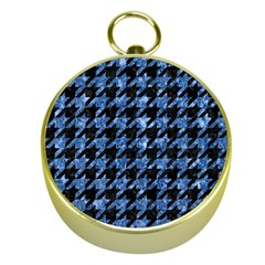 Houndstooth1 Black Marble & Blue Marble Gold Compass by trendistuff