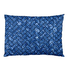 Brick2 Black Marble & Blue Marble (r) Pillow Case by trendistuff