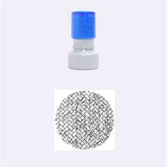 Brick2 Black Marble & Blue Marble (r) Rubber Stamp Round (small)