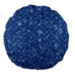 Brick2 Black Marble & Blue Marble (r) Large 18  Premium Round Cushion  by trendistuff