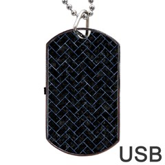 Brick2 Black Marble & Blue Marble Dog Tag Usb Flash (two Sides) by trendistuff