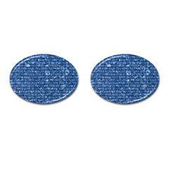 Brick1 Black Marble & Blue Marble (r) Cufflinks (oval) by trendistuff