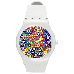 Star Of David Round Plastic Sport Watch (m) by SugaPlumsEmporium