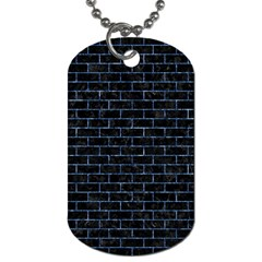 Brick1 Black Marble & Blue Marble Dog Tag (two Sides) by trendistuff