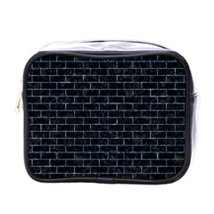Brick1 Black Marble & Blue Marble Mini Toiletries Bag (one Side) by trendistuff
