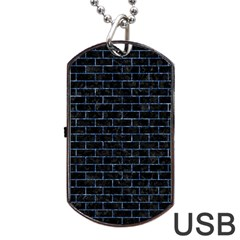 Brick1 Black Marble & Blue Marble Dog Tag Usb Flash (two Sides) by trendistuff