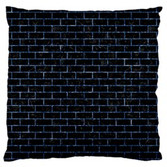 Brick1 Black Marble & Blue Marble Large Flano Cushion Case (one Side) by trendistuff