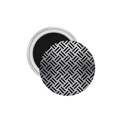 Woven2 Black Marble & Silver Brushed Metal (r) 1 75  Magnet by trendistuff