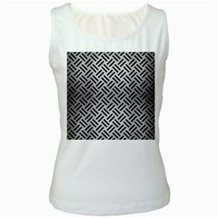 Woven2 Black Marble & Silver Brushed Metal (r) Women s White Tank Top by trendistuff
