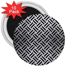 Woven2 Black Marble & Silver Brushed Metal (r) 3  Magnet (10 Pack) by trendistuff