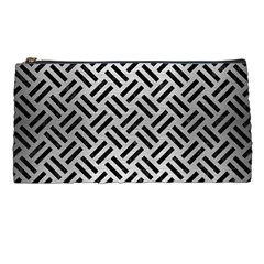 Woven2 Black Marble & Silver Brushed Metal (r) Pencil Case by trendistuff