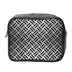 Woven2 Black Marble & Silver Brushed Metal (r) Mini Toiletries Bag (two Sides) by trendistuff