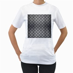 Woven2 Black Marble & Silver Brushed Metal (r) Women s T Shirt (white)  by trendistuff