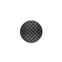 Woven2 Black Marble & Silver Brushed Metal 1  Mini Button by trendistuff