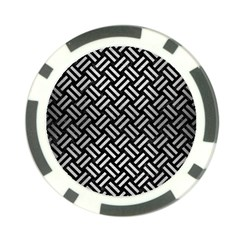 Woven2 Black Marble & Silver Brushed Metal Poker Chip Card Guard by trendistuff