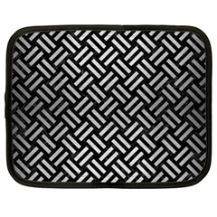 Woven2 Black Marble & Silver Brushed Metal Netbook Case (xl) by trendistuff