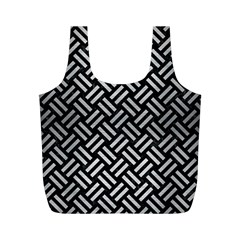 Woven2 Black Marble & Silver Brushed Metal Full Print Recycle Bag (m) by trendistuff