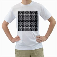 Woven1 Black Marble & Silver Brushed Metal (r) Men s T Shirt (white) (two Sided) by trendistuff