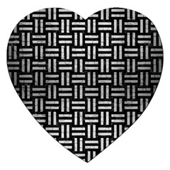 Woven1 Black Marble & Silver Brushed Metal Jigsaw Puzzle (heart) by trendistuff