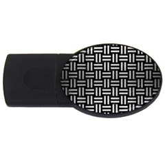 Woven1 Black Marble & Silver Brushed Metal Usb Flash Drive Oval (4 Gb) by trendistuff
