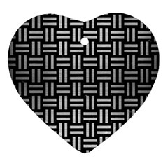 Woven1 Black Marble & Silver Brushed Metal Heart Ornament (two Sides) by trendistuff