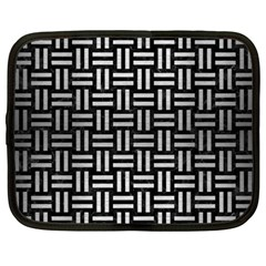 Woven1 Black Marble & Silver Brushed Metal Netbook Case (large) by trendistuff