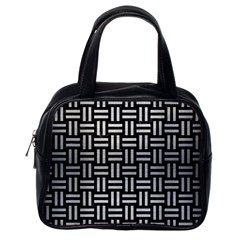 Woven1 Black Marble & Silver Brushed Metal Classic Handbag (one Side) by trendistuff