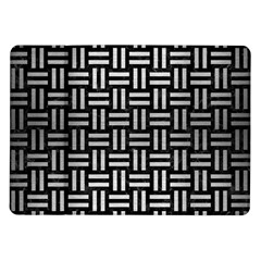 Woven1 Black Marble & Silver Brushed Metal Samsung Galaxy Tab 10 1  P7500 Flip Case by trendistuff