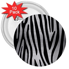 Skin4 Black Marble & Silver Brushed Metal 3  Button (10 Pack) by trendistuff