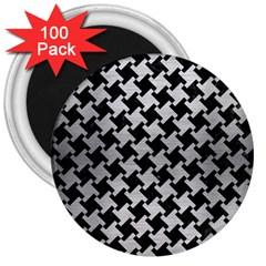 Houndstooth2 Black Marble & Silver Brushed Metal 3  Magnet (100 Pack) by trendistuff