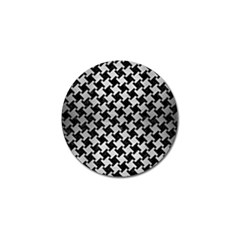 Houndstooth2 Black Marble & Silver Brushed Metal Golf Ball Marker by trendistuff